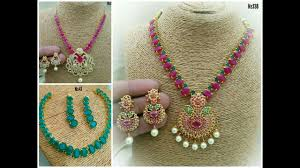 emerald pearl necklace images Latest beautiful ruby emerald pearls necklace one gram gold jpg