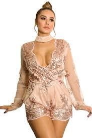 us 10 33 champagne sequin embroidery sheer long sleeve romper