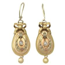 gold drop earrings 0 12 ct diamond and 14k yellow gold drop earrings antique