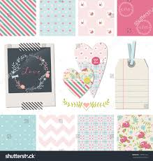 set pretty shabby chic vector seamless stock vector 179707124
