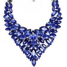 Sapphire Blue Blue Lux Glam Marquise Statement Necklace