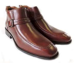 low cost new mens ankle boots buckle design tapered front zipper