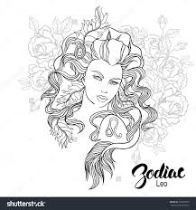 zodiac sign leo floral geometric doodle pattern coloring page