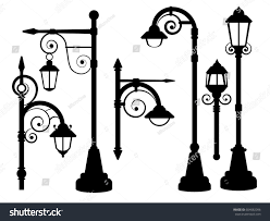 l road lights vector silhouettes stock vector 604082096