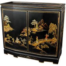 oriental furniture black lacquer japanese slant front cabinet lcq