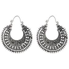 metal earings buy ganapathy gems white metal hoop earrings for women online at
