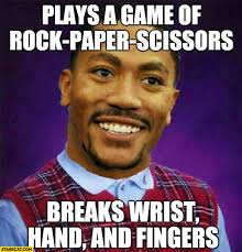 Rock Meme - derrick rose plays a game of rock paper scissors breaks wrist