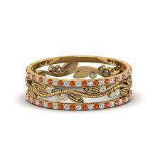 thick wedding bands thick wedding band diamond with orange sapphire in 14k yellow gold
