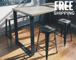 Industrial Bar Table Wood Bar Table High Top Kitchen Table Pub Table Steel Legs