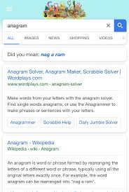 Google Did You Mean Meme - searching anagram on google produces a did you mean result that is