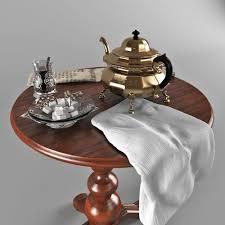 little tea table set 3d tea little table with a teapot a glass and a sugar