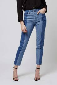Denim Blue Girlfriend Patched Jeans Denim Collection Denim Pull U0026bear