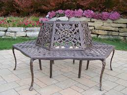 amazon com oakland living tea rose cast aluminum tree bench