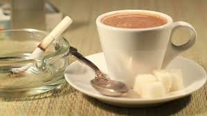 Salep Hd the burned cigarette and coffee dolly stock footage