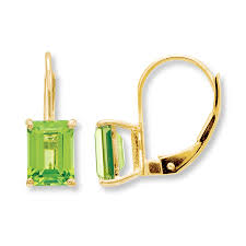 peridot earrings jared peridot earrings emerald cut 14k yellow gold