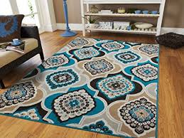 Teal Area Rug 5x8 Century Home Goods Collection Panal And Diamonds Area