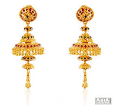 fancy jhumka earrings 22k meena jhumka earrings ajer59188 22k gold fancy earrings