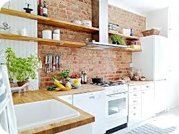 Open Cabinet Kitchen Ideas Brick Wall In The Kitchen Open Shelves Kitchen Kitchens