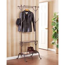 rustic entryway coat rack 10 black metal hooks woven basket one
