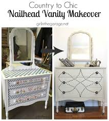 Upcycled Vanity Table Country To Chic Nailhead Vanity Makeover Girl In The Garage