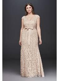 vintage wedding dress cap sleeve soutache lace plus size dress with sash david s bridal