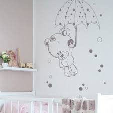 autocollant chambre bébé stickers nounours et parapluie
