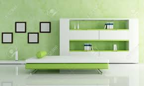 green and white living room with modern bookcase rendering stock