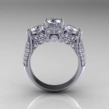 White Gold Cz Wedding Rings by 14k White Gold Three Stone Cubic Zirconia Diamond Solitaire Ring