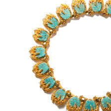 turquoise gold necklace images Vintage marcel boucher turquoise and gold brutalist collar jpg