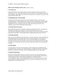 mba recommendation letter recommendation cover letter writing a