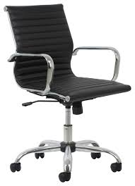 Leather And Chrome Chairs Essentials By Ofm Swivel Ribbed Leather Chair With Arms Black And