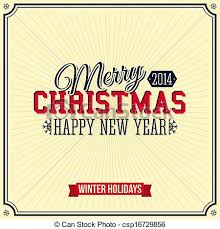 clipart vector of vintage merry christmas and happy new year card