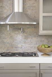 Kitchens Pot Filler Tumbled Linear Stone Tiles Backsplash Taupe - Linear tile backsplash