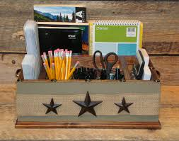 countertop organizer etsy khaki colored office desk tabletop caddy organizer with metal stars and burlap ribbon kitchen counter