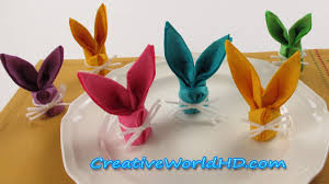 diy paper crafts bunny rabbit napkins folding how to easter kids