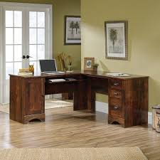 Corner Computer Desk Cherry Sauder Harbor View Corner Computer Desk Curado Cherry Finish