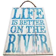 amazon com life is better on the river wood sign for wall décor