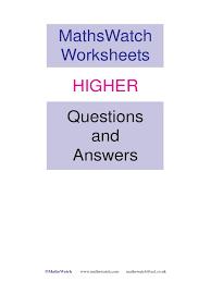 mathswatch higher answers trigonometric functions quadratic