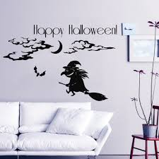happy halloween wall decal witch vinyl stickers bats kids bedroom