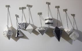 black and white geometric ornaments