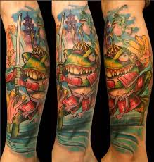 ninja frog fighter tattoo on leg tattooshunter com