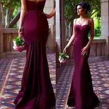 wedding dress maroon spaghetti straps mermaid maroon prom dress evning dress