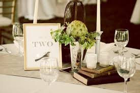 our classic eclectic wedding decor mercury glass birds books