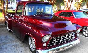 55 chevy truck has phenomenal flame job in its stunning candy