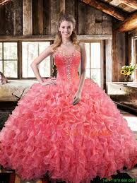 coral pink quinceanera dresses 2016 winter new style gown coral quinceanera dresses with