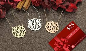 Silver Monogram Necklace Monogram Necklace And Gift Card Monogram Online Groupon