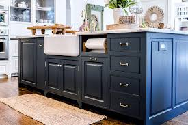 Blue Kitchen Island With Built In Paper Towel Holder Next To Shaw - Shaw farmhouse kitchen sink