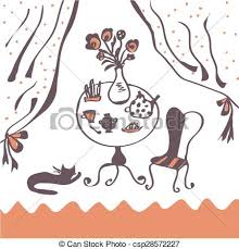 vector illustration of cafe room with tea table and cat funny