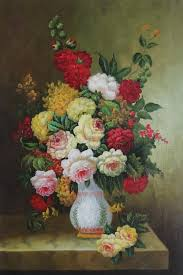 framed bouquet of flowers autumn in white vase oil painting still life classic 36 x 24 inches