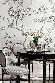 black and white dining room features black and white chinoiserie